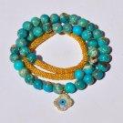 Aqua Terra Jasper, Bali Beads & Vermeil Mother of Pearl Evil Eye Charm Bracelet Necklace