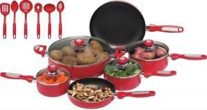 KTAL16 - Chef's Secret 16pc Red Aluminum Cookware Set