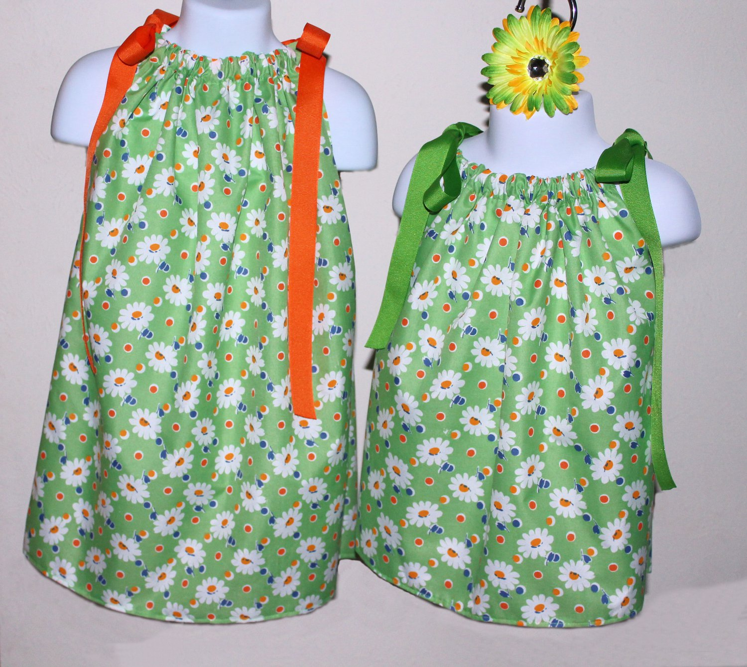 Daisy on Green Pillowcase Dress