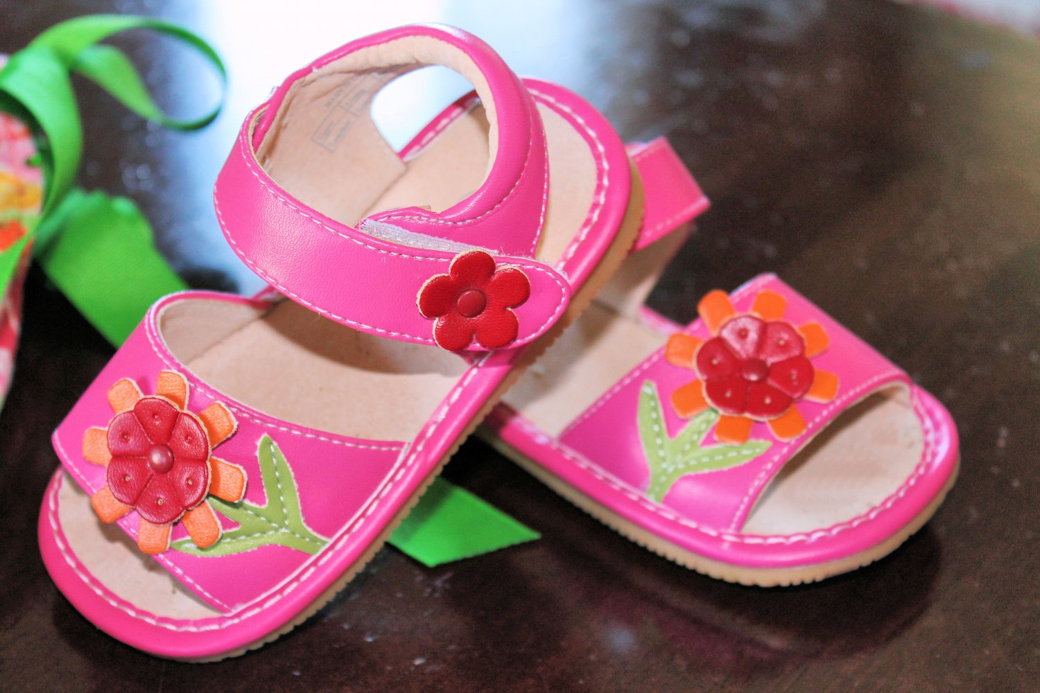 Squeaky Shoes in Hot Pink w/Sunflower
