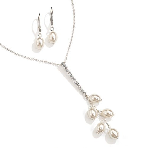Cream: Mariette Faux Pearl Necklace and Earring Gift Set - Avon