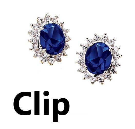 Clip Earrings: Majestic Princess Faux Sapphire Earrings - Avon