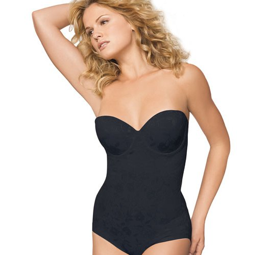 38DD: Black BALI Powershape Pretty All-in-One Firm Bustier Body Briefer - Avon