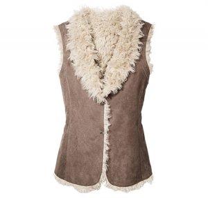 Large: Reversible Bohemian Suede Vest with Faux Fur - Avon