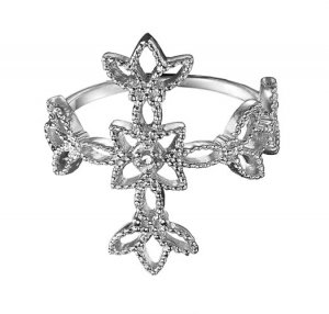 Size 7: Sterling Silver Diamond Accent Cross Ring - Avon
