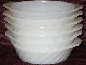 Lot of 6 Fire King Individual Casserole Bowls Swirl Pattern