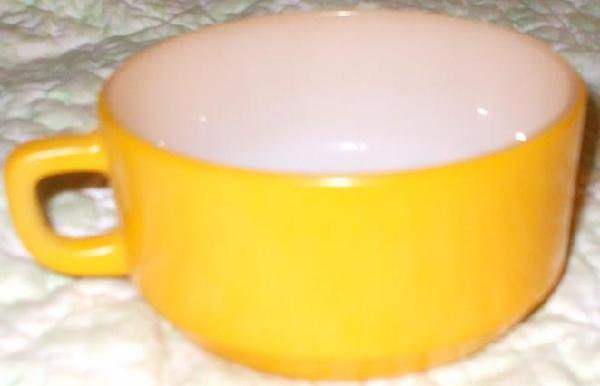 Vintage Fire King Yellow Soup Chili Bowl with Handle