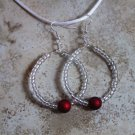 Red Ball and Clear Hoop Earrings