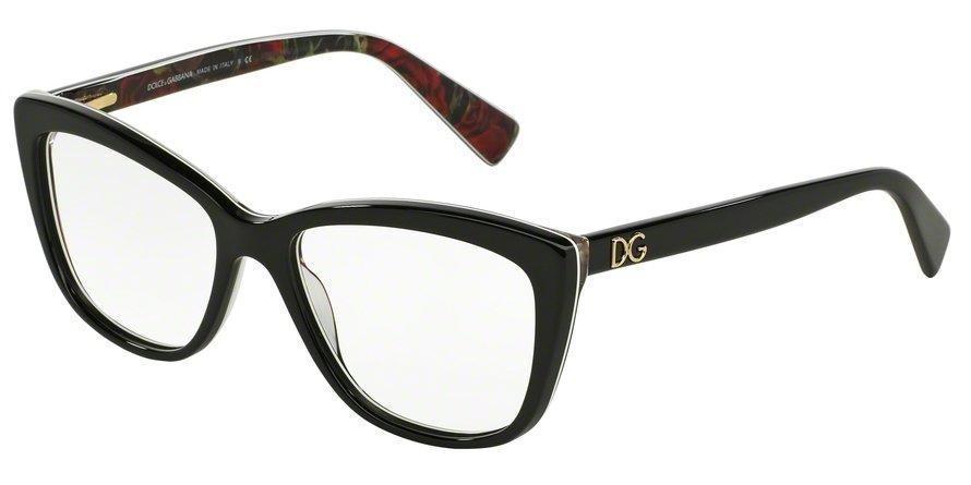 Dolce & Gabbana 0DG3190 BLACK ON PRINTING ROSES Eyeglasses