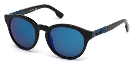 DIESEL DL0115 01X   - shiny black  / blu mirror Plastic