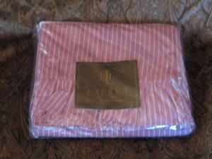 Ralph Lauren Purple Brittany Stripe Queen Flat Sheet with Ruffle
