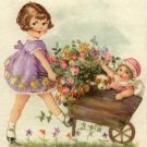 Vintage Little Girl with Wagon and Flowers Cotton Fabric Panel