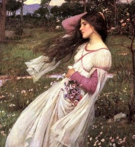 4 1/4 x 7 Windflowers Renaisance Lady with Flowers on a Windy Day