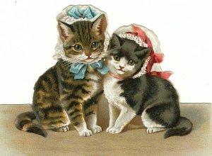 4 x 5 Cute Little Kittens Cotton Twill Fabric Block