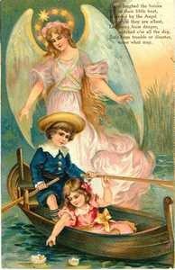 7 x 4 1/2  Victorian Children Gaurded by a Angel  Cotton Fabric Block