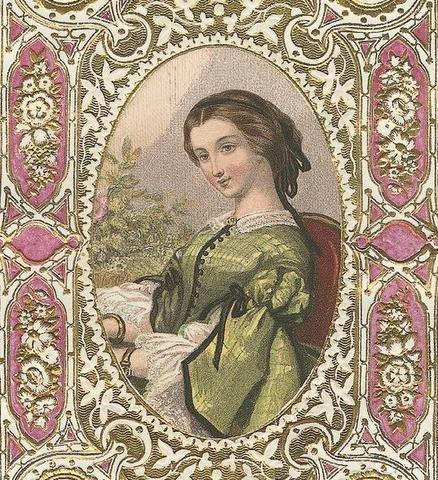 18th Century Lady  Purple Fabric Quilting Block