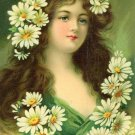 Victorian Beauty Green  with Daisies in her Hair Cotton Twill  Fabric Block