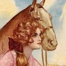 Vintage Lady with Horse  Cordella Cotton Fabric Block