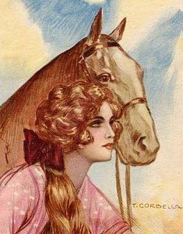 Vintage Lady with Horse  Cordella Cotton Fabric Block