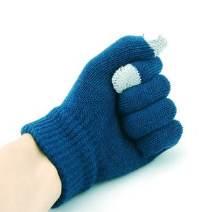 Two fingers touch screen wool gloves - BLUE