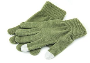 Two fingers touch screen wool gloves - Dark green
