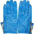 TOPSHOP Cobalt Blue 100% Leather Laser Cut Star Gloves Size S-M BNWT RARE