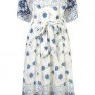 TOPSHOP China Blue Floral Print Midi Tie Back Dress Size UK6/34/2 BNWT