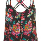 TOPSHOP Black floral print cross back cami top UK 14 EUR 42 US 12 BNWT