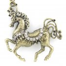 Gold horse necklace with crystals