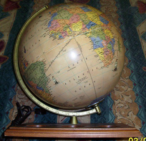 Crams Electric Lighted Antique World Globe