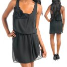SMALL Rosette Sleeveless Black Dress