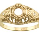 14k Gold Diamond Semi-Mount Ring for 5mm Round Stone