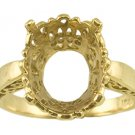 14k Gold 14x12mm Oval Semi-Mount Ring