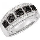 14k White Gold 3/4ctw Black & White Diamond Ring - 69499