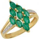 14k Yellow Gold Genuine Emerald & Diamond Ring - 69665