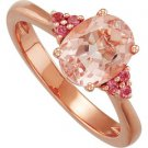14k Rose Gold Genuine Morganite & Pink Sapphire Ring - 68773