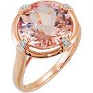 14k Rose Gold Genuine Morganite & Diamond Ring - 68161
