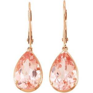 14k Rose Gold Genuine Morganite Earrings - 68558