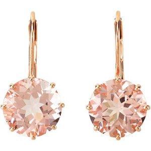 14k Rose Gold 7.20ctw Genuine Morganite Earrings - 68559