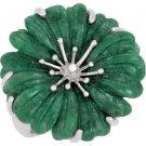 Sterling Silver Russian Jadeite Flower Fashion Ring - 69666