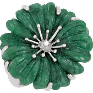 Sterling Silver Russian Jadeite Flower Fashion Ring - 69666