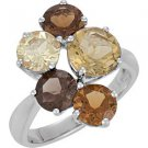 Sterling Silver Multi-Gemstone Ring - 69617