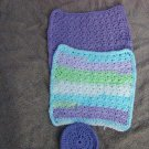 Wash Cloth set of 2 and Scrubbie Pad 100% Cotton Crochet