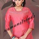 Art Silk Designer Pink Tunic - (Size: L)