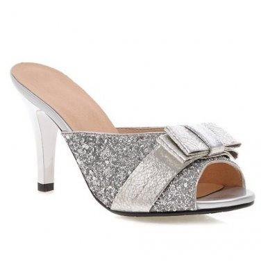 Sequined Slippers With Bow Design