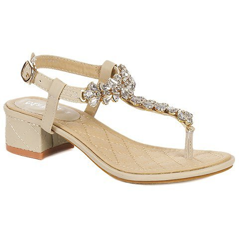 Trendy Sandals With T-Strap and Rhinestone Design