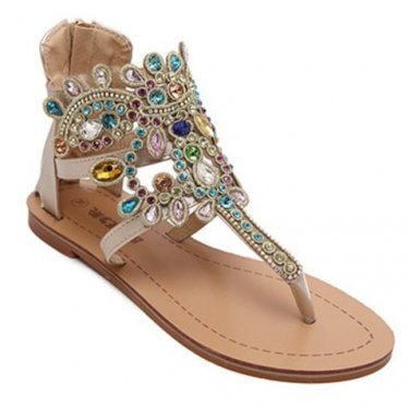 Gorgeous Sandals With Flip Flop and Rhinestones Design