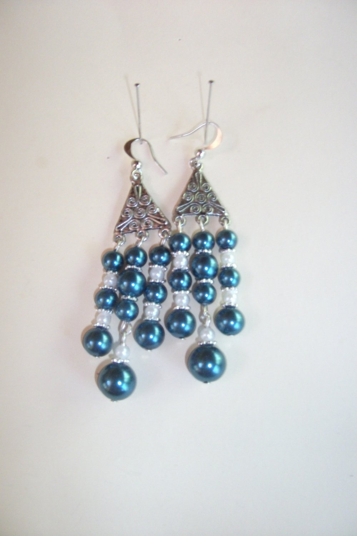 Blue Pearl Chandelier earrings