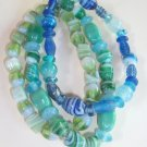 Glass bead stretch bracelet - Aqua combination