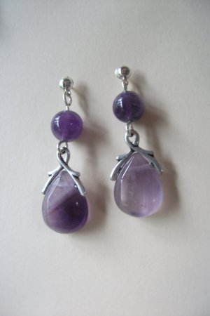 Amethyst Gemstone necklace and earrings set